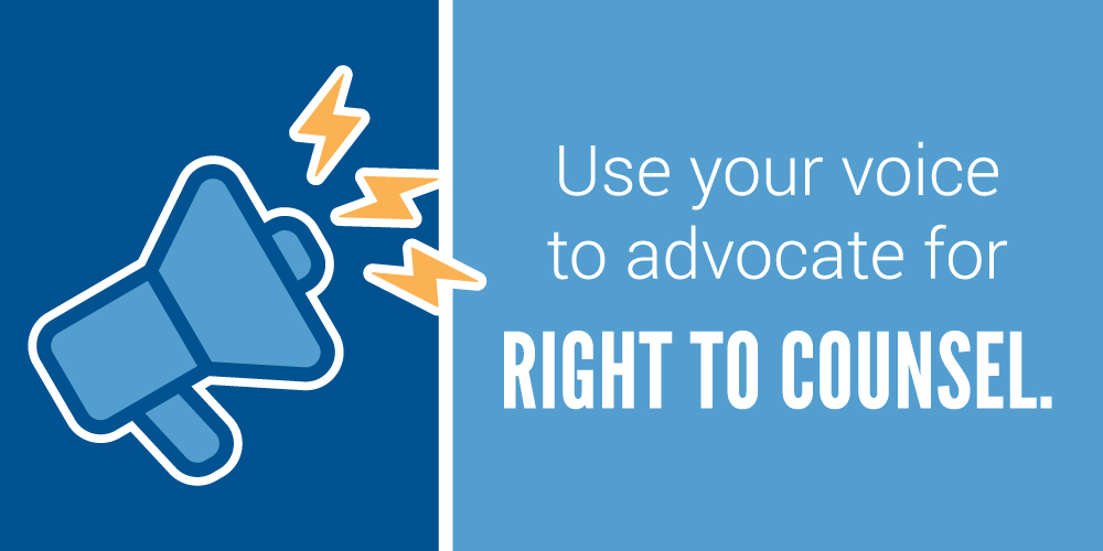 Image: Megaphone with use your voice to advocate for right to council.